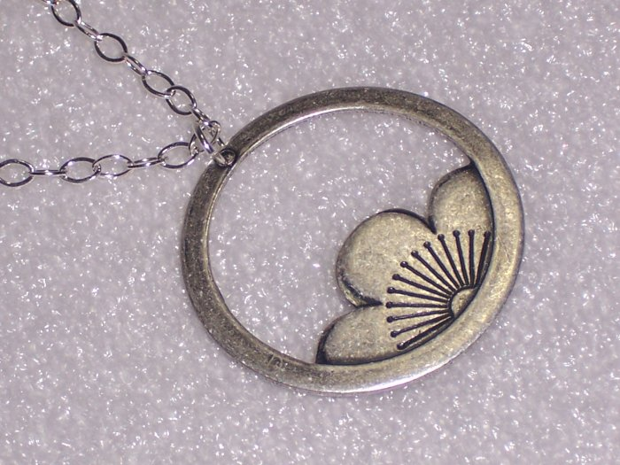 White Lotus Ring Blossom Pendant on Sterling Silver Chain