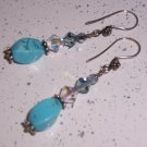 Sterling Silver Dangle Earrings with Turqouise and Swarovski Crystals