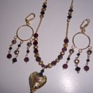 Garnet and Gold Heart Necklace and Earrings Set