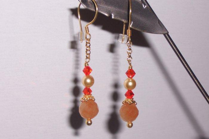 Golden Orange Carnelian and Swarovski Earrings