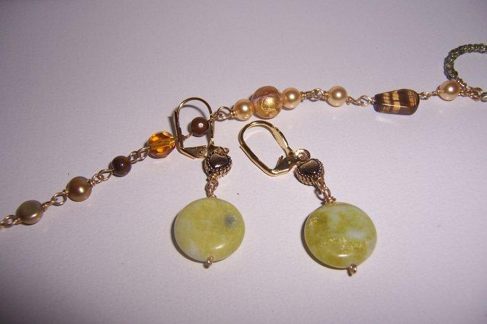 Green Flower Jasper Coin Earrings