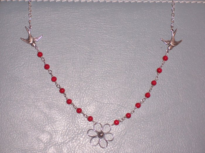 Sterling Silver Chain Necklace with Sparrow Birds Red Coral Necklace and a flower pendant from Bali