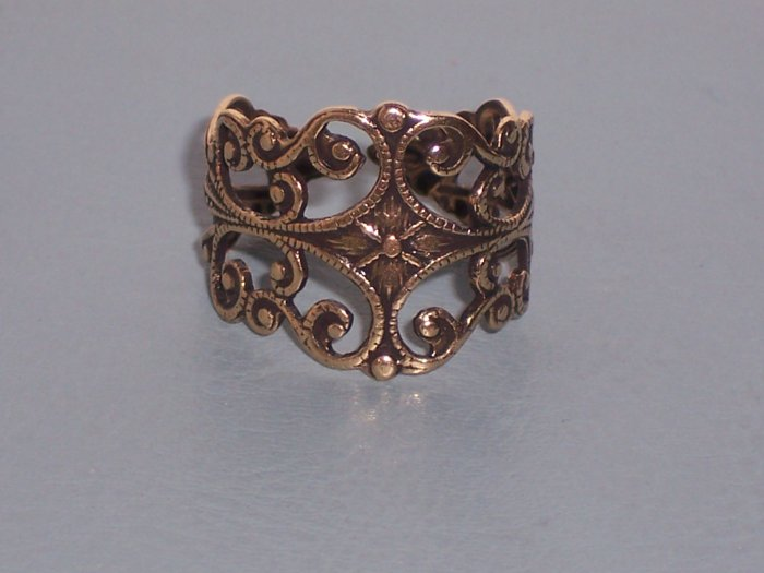 Antiqued Brass Filigree Ornate Trelis Adjustable Ring with Vine Designs