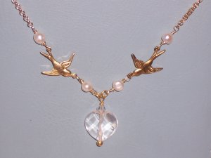 Sparrow Love Birds and White Pearls Necklace on 14k gold filled chain with Heart Pendant