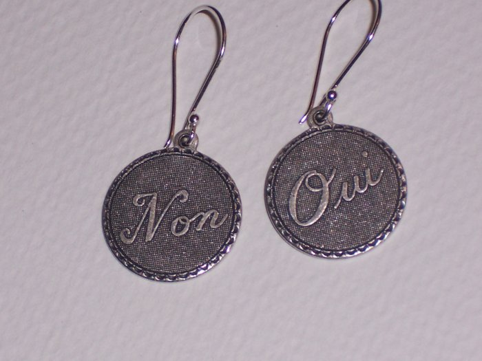 Oui Non French Circle Disc Earrings on Sterling Silver Earwires