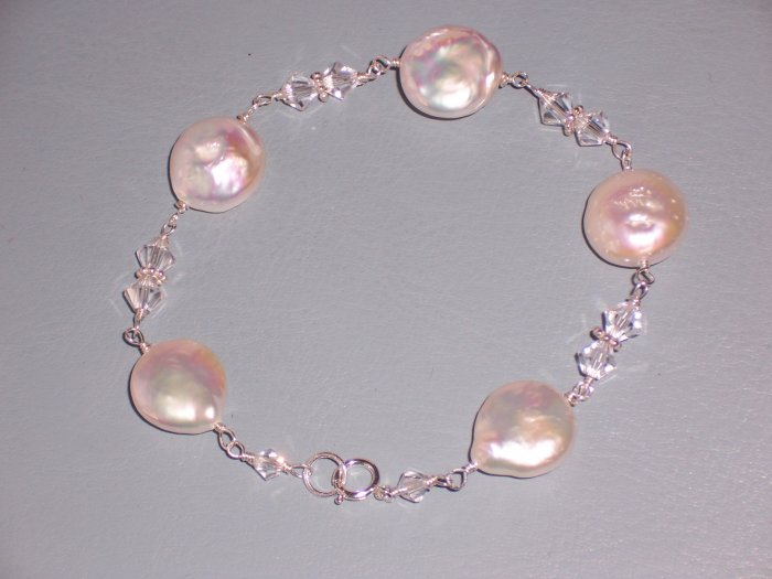 White Pearls and Swarovski Crystals Bracelet on Sterling Silver