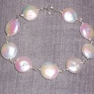 White Coin Pearl and Sterling Silver Bracelet