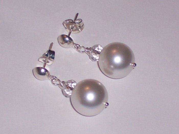 White Pearls and Sterling Silver Earrings with Swarovski Crystals