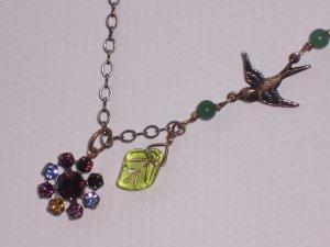 Baby Swallow Bird Necklace with Swarovski Crystal Flower Pendant