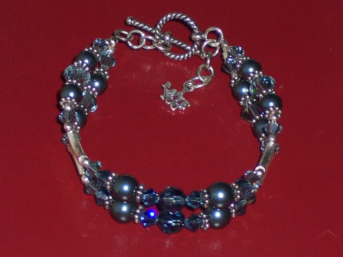 Petite I Love You Bracelet with Swarovski Crystals Pearls and Sterling Silver
