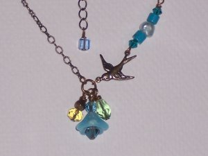 Baby Swallow Bird Necklace Blue