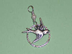 Sparrow Bird over a Sterling Silver Hammered Circle Pendant