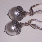 Acorn Earrings with White Pearls on Sterling SIlver