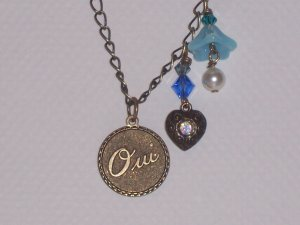 French Love pendant necklace with Blue Flower Heart Charm and Swarovski Crystals on Antique Brass