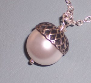 White Pearl Acorn Pendant on Sterling Silver Chain