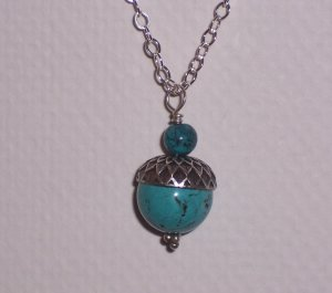 Turquoise Acorn Necklace on Sterling Silver Chain FREE SHIPPING TO THE U.S.
