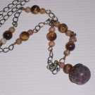 Vintage Acorn Pendant with Tiger Eye Gemstone Beads and Desert Jasper on antique Brass