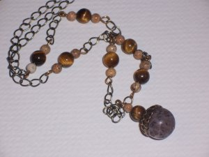 Vintage Acorn Pendant with Tiger Eye Gemstone Beads and Desert Jasper on antique Brass