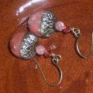 Acorn Earrings -Pink- Cherry Quartz and Swarovski Crystals on Antiqued Brass