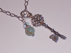 Key with Hearts Pendant Necklace on Sterling Silver Chain