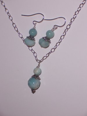 BLUE EARRINGS AND NECKLACE SET- Amazonite and Sterling Silver Chain