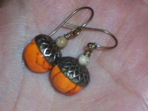Sweet Acorns  Orange Turquoise Antiqued Acorn Earrings