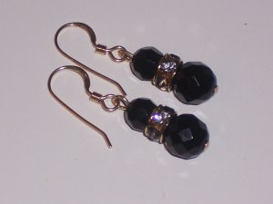 Black Onyx Dangle Earrings with Swarovski Crystals on Goldfill Ear Wires