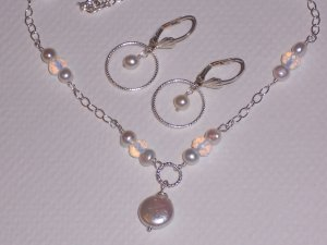 White Pearl and Opalite Bridal Necklace and Circle Earrings on Sterling