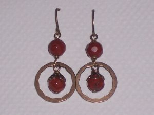 Red Jasper Circle of Life Dangle earrings Vintage Style