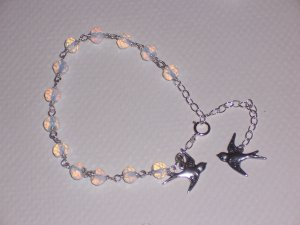 White Bride Sparrows Bracelet  with Love Birds Charms Opalite Stone and Sterling Silver