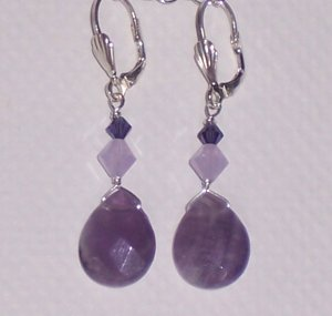 Purple Velvet Earrings with Amethyst Stones and Swarovski Crystals on Sterling Silver