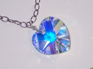 Swarovski Crystal Heart Deluxe Necklace on Sterling Silver Chain