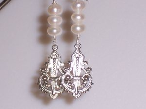 White Pearls and Filigree Earrings on Sterling Silver Ear Backs