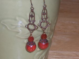 Vintage Victorian style Red Coral and Red Jasper on Antique Filigree Earrings