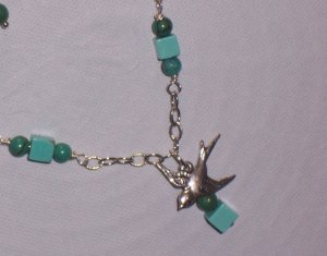 Sparrow Bird Necklace with Turquoise Stone and Sterling Silver Chain
