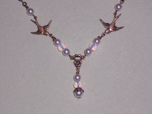 Sparrow Love Birds Necklace with White Swarovski Pearls and Opalite Stone