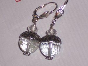 Rock Crystal Acorn Earrings on Sterling Silver Leverbacks