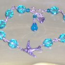 Swallow Bracelet - Light Aqua Czech Glass Beads Swarovski Crystals and Heart Charm