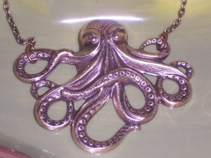 Antiqued Brass Octopus Necklace