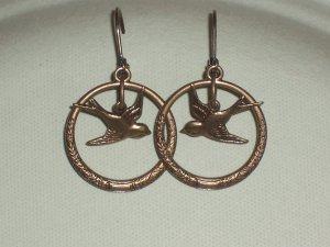 Brass Ox Sparrow Bird Hoop Earrings Vintage Style Bird Jewelry