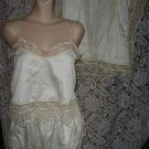 Vintage Billie Dove SATIN Bridal Lingerie Set/Nightgown:Lace Panties/Camisole,Peignoir, L
