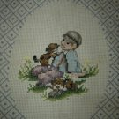 Finished Cross Stitch Pillow Front/Picture (2 Panels!) Amish/Country Boy & Girl, Dog/Cat