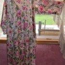 GORGEOUS Floral SATIN Nightgown, Front Zipper; Sante', NWT! Sz M