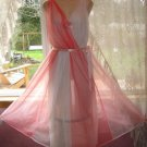 Vintage Sissy Pink SHEER CHIFFON Nightgown! S/M Tall