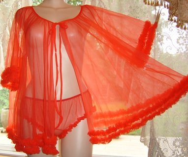 SOLD  Vintage Sissy Red SHEER CHIFFON Nightgown & Ruffle Panties! Sz. L