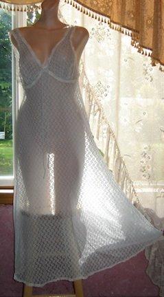 Vintage SHEER Nightgown by Penney's Gaymode, Nylon Chiffon, Sz. S