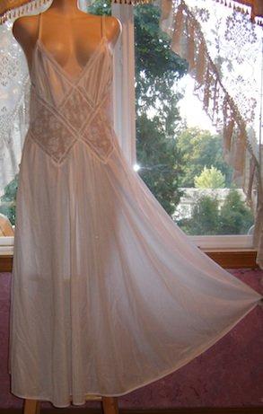 Vintage Gilead Bridal White Nylon & SHEER LACE Nightgown Sz. L
