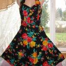 Vintage Tropical/Hawaiian Halter Dress, Sweetheart Neckline, Cotton, Sz. 7; EXC!