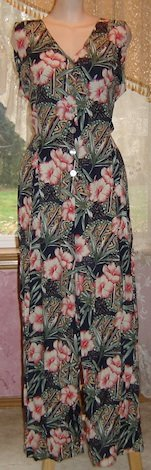 Vintage Hawaiian Palazzo Wide Leg Jumpsuit SEXY Open Back! Sz 14