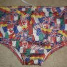 Vintage DOLFIN Swim Trunks/ Marathon Shorts!RARE American/British/Canada Flags 28/S